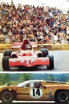 Ronnie Peterson - Monaco 1974 / (March 721) en bas (lola T70 de Bonnier à Keimola) - AUTOhebdo septembre 1978.