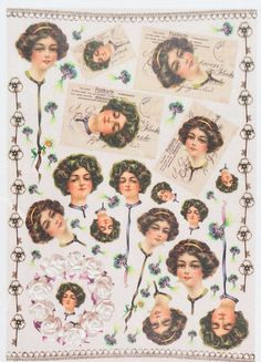 Rice Paper for Decoupage Decopatch Scrapbook Craft Sheet Vintage Lady Postcards