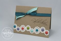 """Cute! Like the doily around the buttons. Used 1/2"""" circle die for flowers."""