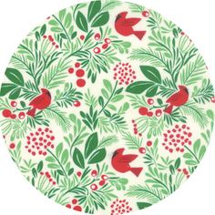 """Moda, Jingle, Birds and Berries Snow  Fabric is sold by the 1/2 Yard. For example, if you would like to purchase 1 Yard, enter 2 in the Qty. box at Checkout. Yardage is cut in one continuous piece when possible.  Examples:  1/2 yard = 1 1 yard = 2 1 1/2 yards = 3 2 yards = 4   1/2 Yard Measures ~18"""" x 44/45""""  Fiber Content: 100% Cotton  Hover over image for a larger, better view."""