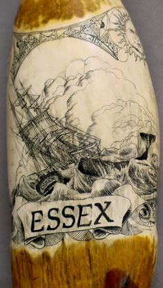 """Scrimshaw of the Essex, a scene of the French rescue ship arriving and the whale attacking, 8"""" long. Sale includes 'In the Heart of the Sea, the Tragedy of the Whaleship Essex', the basis for Herman Melville's Moby Dick"""