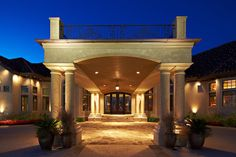 Porte-cochere with timber barrel vault ceiling at Carter Ranch