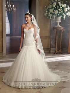 58aea9d835c Strapless A-line Sweetheart Wedding Dress with Scalloped Droppd Waist David  Tutera