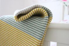 Scottish Gifts - Purl Stripe Small Blanket Gold by Nicola - Knitwear