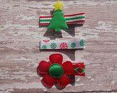 SALE~ Christmas Hair Bows - Tuxedo Style Hair Clips - Christmas Hair Clips - Xmas Hair Clips - Holiday Hair Bows