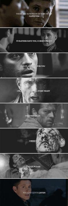 There are hundreds of ways to say I love you. You just gotta listen. #spn #destiel