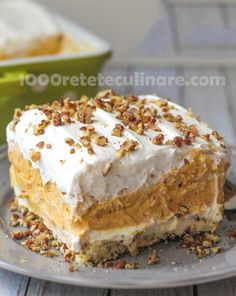 When you think of recipes for fall, you probably think of delicious pumpkin dessert recipes! This Layered Pumpkin Delight is a creamy, dreamy layered dessert that& filled with pumpkin flavor. A pecan crust is topped with a cream cheese layer. 13 Desserts, Delicious Desserts, Yummy Food, Pudding Desserts, Heathly Dessert Recipes, Cool Whip Desserts, Layered Desserts, Fall Recipes, Holiday Recipes
