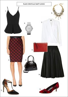 Shop the Party Plaid Looks: Peplum // Plaid Pencil // Black Pump // Watch // Black Handbag Necklace // . Plaid Pencil Skirt, Pleated Midi Skirt, Plaid Skirts, Holiday Fashion, Holiday Style, Professional Look, Party Looks, Fall Winter Outfits, Dress Codes