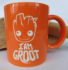 I Am Groot! Guardians of the Galaxy engraved coffee mug. Orange. From Etsy.