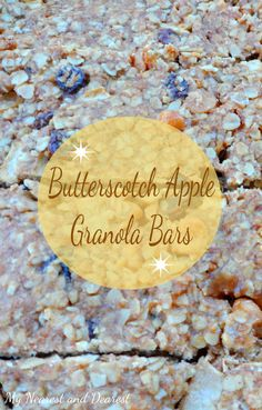 Butterscotch Apple Granola Bar. A delicious homemade snack for school lunches, work, or at home.
