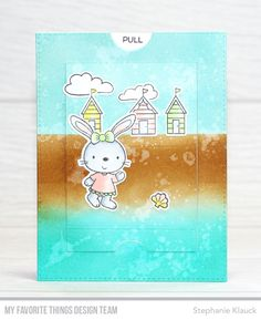 Handmade card from Stephanie Klauck featuring Beach Bunnies Stamp Set and Die-namics, Interactive Labels Stamp Set, Blueprints 28 Die-namics from My Favorite Things Spinner Card, Slider Cards, Honey Bunny, Mft Stamps, Beach Bunny, Punch Art, Sliders, Card Ideas, Gift Ideas