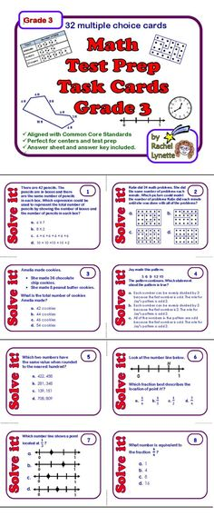 Use these 32 multiple choice math task cards as review or test prep. The cards were created using state standardized tests and grade 3 math Common Core Standards. Almost every standard is covered. Use at a center, with games or with the whole class. A student answer sheet and an answer key is provided. $