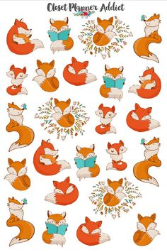 Cute Foxes Planner Stickers Fox Stickers by ClosetPlannerAddict