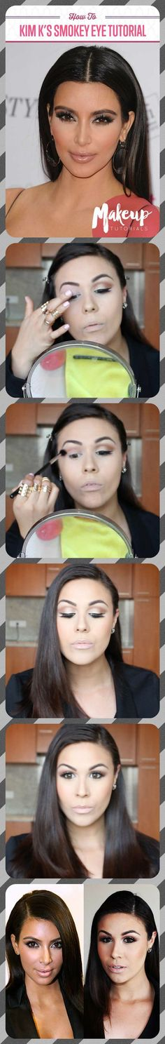 How To Nail Kim Kardashian Makeup | Easy Smokey Eye and Contouring Tutorial For A Celebrity Look by Makeup Tutorials at http://makeuptutorials.com/kim-kardashian-makeup/