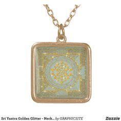 Sri Yantra Golden Glitter - Necklace Sri Yantra, Golden Glitter, Black Felt, Dog Tag Necklace, Pendant Necklace, Boho, Clothing, Gifts, Kleding