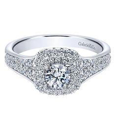 14K White Gold .93cttw Double Cushion Halo Diamond Engagement Ring