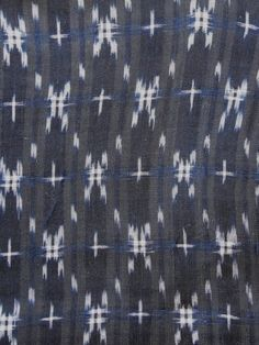 detail of BASHO-FU AND HEMP KIMONO. HAND-KNOTTED, HANDWOVEN  BASHO-FU BANANA FIBER,  KASURI-RESISTED COMMERCIAL HEMP THREADS  BOTH DYED WITH RYUKYU INDIGO (Strobilanthes cusia)  EARLY 20C