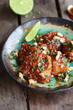 Sweet and Sour Sticky Thai Boneless Oven Baked Chicken Wings | halfbakedharvest.com