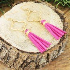 """GOLD QUATREFOIL & FUCHSIA TASSEL EARRINGS Faux suede tassels. Approximately a 2"""" drop.  NO MODELING. NO TRADES. Jewelry Earrings"""