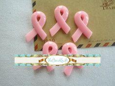 5 Piece Pink Ribbon Breast Cancer Awareness Cabochons - Flatback Resin Decoden Kawaii (TDK-C1570)