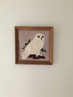 vintage owl framed needlepoint. vintage owl crewel embroidery.