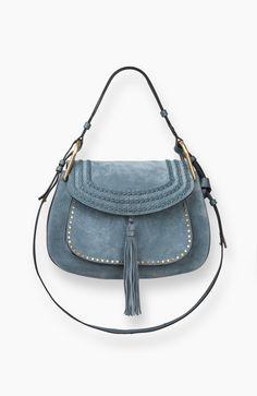 3S1221-H67-BFC Chloe Hudson Large Suede Bag! Cloudy Blue!❤️❤️