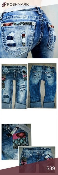 MISS ME CUFFED CAPRI JEANS SZ 2 26 NEW New with tags Miss Me Jeans Ankle & Cropped