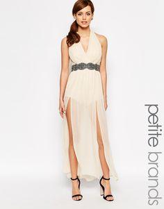 Little+Mistress+Petite+Halterneck+Maxi+Dress+With+Embellished+Waist+Detail