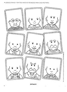 coloring page - draw hair on the people's heads (or you could use yarn, torn…
