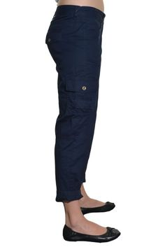 Tommy Hilfiger Womens Cargo Cropped Capri Pants 100% Cotton 4 Pockets Jeans NEW #TommyHilfiger #Cargo