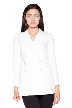 Modest but very elegant double-breasted jacket with long sleeves, buttoned. Jackets For Women, Clothes For Women, Double Breasted Jacket, Vest Jacket, Fashion Addict, Chef Jackets, Street Wear, One Piece, Street Style