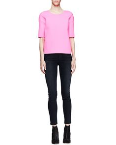 Auden Scuba-Fabric Top & Mid-Rise Impression Skinny Jeans by J Brand Ready to Wear at Neiman Marcus.
