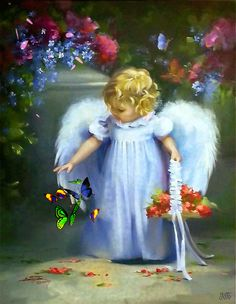 Blue Wings Angel baby Angel with blue Wings Raindrops And Roses, I Believe In Angels, Ange Demon, Angel Pictures, Angels Among Us, Angels In Heaven, Guardian Angels, Faeries, Beautiful Pictures