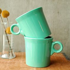 Pair of Fiesta Mugs Sea Foam Green Homer Laughlin by vint, $18.00