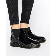 Dr Martens Bianca Black Patent Chelsea Boots ($145) ❤ liked on Polyvore  featuring shoes