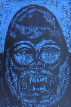Gorilla Head Woodcut via Woodcut Funhouse. Click on the image to see more!