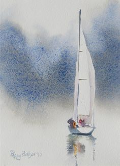 "Calm Sailboat, 7 x 5"", watercolour Sold Somehow I missed posting this one here before now. The auction for this will end tomorrow evening ... #watercolorarts"