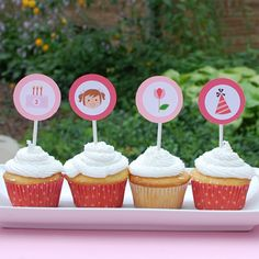 olliegraphic cupcake topper kit :: girl
