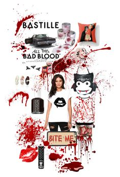 """""""BAD BLOOD"""" by pocketchangetees ❤ liked on Polyvore featuring Comeco, Essie and Manic Panic"""