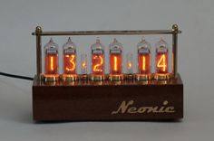 Buy Now Nixie tubes clock in-14 handmade Mahogany Sapele wood veneered case…