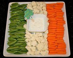Irish Flag Veggie Tray | You can use various veggies. Green: celery, broccoli, soy beans, cucumbers, snap peas. White: cauliflower, cheese. Orange: carrots
