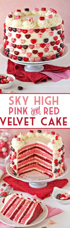 "Nothing says ""love"" like this sky-high pink and red velvet cake! it's alternating layers of moist red and pink velvet cake, filled with tangy cream cheese Valentine Desserts, Köstliche Desserts, Delicious Desserts, Valentines, Baking Recipes, Cake Recipes, Dessert Recipes, Food Cakes, Cupcake Cakes"