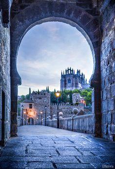 Church of San Juan de los Reyes viewed along Puente de San Martin, Toledo, Spain