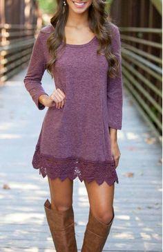 Lace Paneled Round Neck Stretch Cotton Dress