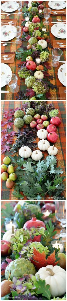 Fall table with beautiful organic table runner using hydrangeas, artichokes, leaves, pomegranates, pears, white pumpkins, apples and votives | homeiswheretheboatis.net #tablescape #fall
