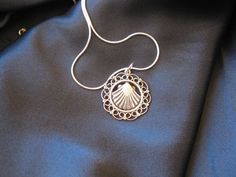 Silver filigree camino scallop shell necklace - often worn in Spain (and throughout the world by pilgrims of the Way of St James - el Camino), to symbolise someone's spiritual journey through life