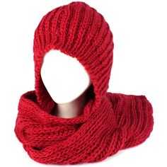 Winter Chunky Knit Hooded Scarf Pullover Headscarf Neckwarmer Hoodie Hat Red at Amazon Women's Clothing store: Cold Weather Scarves