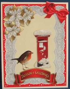 Robin and postbox decoupage on Craftsuprint designed by Carol Dunne - made by Cheryl French - Printed onto glossy photo paper. Attached base image to card stock using ds tape. Built up image with 1mm foam pads. Added silver glitter glue to flowers and frosted lace glitter glue to snow. - Now available for download!