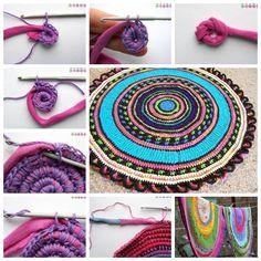 Diy crochet rag rug, crochet t shirts, crochet home, old tee shirts, art . Diy Crochet Rag Rug, Scrap Crochet, Rag Rug Diy, Crochet Home, Rag Rugs, Old T Shirts, Tee Shirts, Diy Bathroom Decor, Fabric Scraps