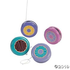 These unique yo-yos are perfect party favors for a donut birthday party! Yo-yos are timeless kids' toys that will keep youngsters entertained for hours. Donut Party Supplies, Birthday Party Favors, Birthday Ideas, 8th Birthday, Carnival Birthday, Birthday Games, Birthday List, Sprinkles, Silly Gifts